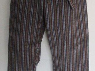 5203 唐桟縞の着物で作ったパンツ #送料無料の画像