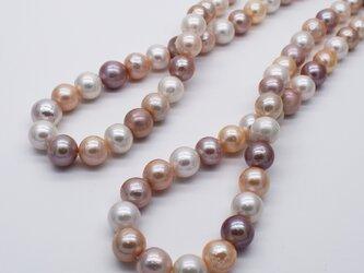 連40cm 大珠 9.5~12mm ラウンド淡水パール マルチカラー ナチュラルカラー バロック 本真珠の画像