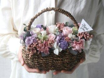 [誕生日プレゼント・結婚祝い・ご両親贈呈品] Flower basket  Antique pinkの画像