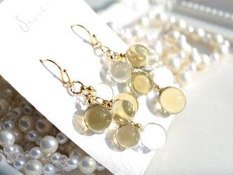 Champagne Gold ballアシンメトリーピアス&イヤリングの画像