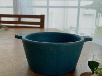 お鍋の形のスープ碗 錆青の画像