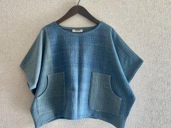 本藍染手織り木綿モモンガブラウス(COTTON100%)の画像