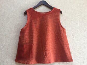 草木染 手織り木綿ベスト(COTTON100%)の画像