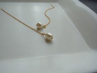 14kgf Vintage baroque  drop pearls AChain pierceの画像