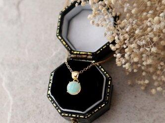 【14kgf】宝石質エチオピア産プレシャスオパールの一粒ネックレス*10月誕生石の画像