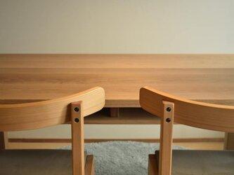 オーク(どんぐりの木) 棚付きダイニングテーブルW140 即納品の画像