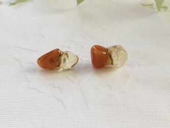 金継ぎx天然石ピアス(オレンジアベンチュリン、シトリン)の画像