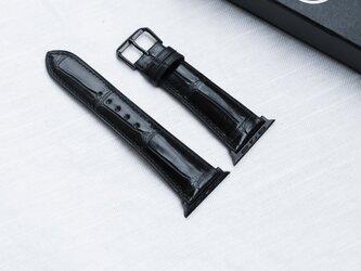 高級革使用 腕時計 ベルト 時計 アップルウォッチバンド フランス産 アリゲーターワニ革 メンズの画像