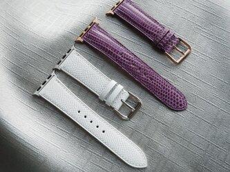 【高級革使用】 腕時計ベルト アップルウォッチバンド スペイン産のリザード革  トカゲ革 メンズ レディースの画像