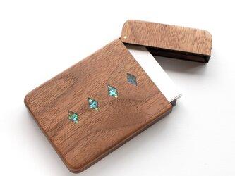 木製名刺入れ『スロテッドダイヤモンド』シェルインレイの画像