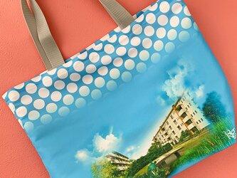 雨の日も使える 昭和の風景柄(団地柄タイプ) お買い物袋の画像