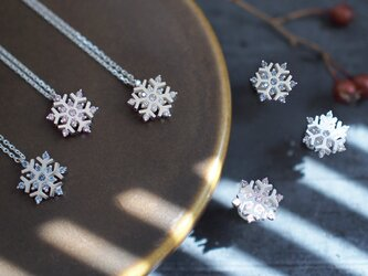 2点set) 雪の結晶 ネックレス ピアス シルバー925の画像