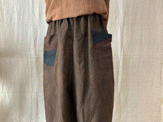 手描き柿渋染パンツ(麻100%)の画像