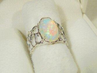 3.62ctオパールとSV925の指輪(リングサイズ:12号、サイズ変更可、ロジウム厚メッキ、天然石、10月の誕生石)の画像