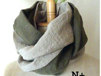 20-16 日本製ベルギーリネン スカーフ風ネックウォーマーの画像