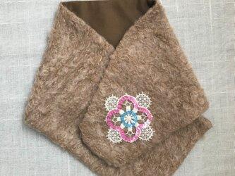 ~スパンコール 花刺繍~ ウール ネックウォーマーの画像