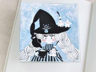 「ほうき星」ミニ原画  水色花箱シリーズの画像