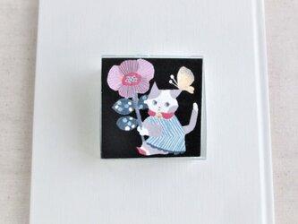 「 花と猫 」ミニ原画  水色花箱シリーズの画像