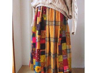 再 絵画なパッチワーク ふんわりギャザースカート キャメル バーガンディー 起毛コットンの画像
