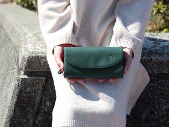 姫路産ヌメ革 マチの大きいお財布 本革 グリーン 長財布【送料無料】aw-10hnの画像