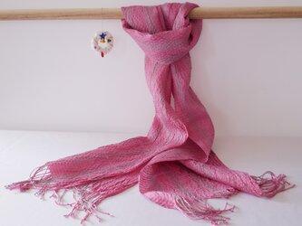 コチニール染め 手織りシルクストール ST30の画像