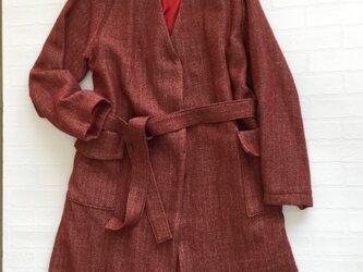 リネン・ウールヘリンボーン柄ロングコートの画像