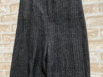 リネン・ウールヘリンボーン柄ワイドパンツの画像