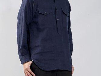 【wafu】中厚 リネン プルオーバーシャツ ラグランスリーブシャツ 両ポケット 男女兼用/ネイビー t035f-neb2-wの画像