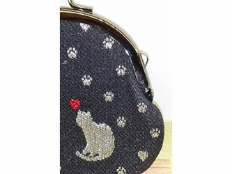 絹織物西陣織 2.6寸 ネコ一匹ハート赤表黒裏青二匹の画像