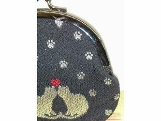 絹織物西陣織 2.6寸 ネコ二匹ハート赤表黒裏青一匹の画像