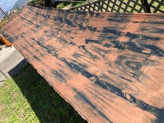 柿渋染×藍染、4.5m、2重織生地、COTTON100%、国産110cm巾の画像