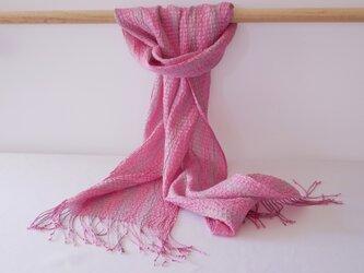 コチニール染め 手織りシルクストール ST31の画像