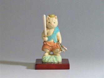 木彫り 立不動明王猫 猫仏2011の画像