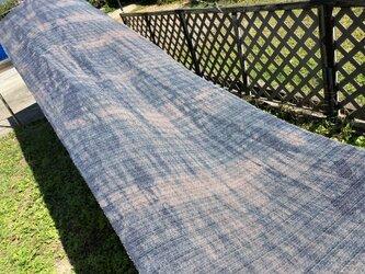 草木染×藍染、5.2m、生地、綿ポリ混紡、国産110cm巾の画像