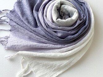 手染めのコットン**紺鼠色×藤紫色×白色*ストールの画像