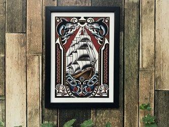 tattoo デザイン タトゥー イラスト 船 サメ A4 黒フレームの画像