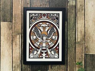 tattoo デザイン イラスト イーグル 自由の女神 シェイクハンド A4 黒フレームの画像