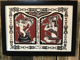 タトゥー イラスト スネークガール  A4サイズ フレーム付きの画像