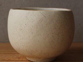 抹茶碗 筒茶碗ふう 茶道 地 tea ceremony 白土 黒顔料の画像
