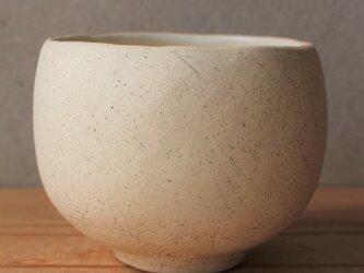 抹茶碗 筒茶碗ふう 茶道 白土 黒顔料の画像