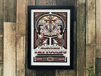 tattoo デザイン イラスト マーメイド A4サイズ 黒フレームの画像