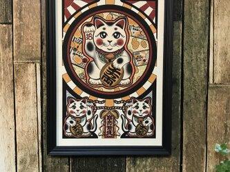 金運アップ 開運 縁起物 可愛い 招き猫 商売繁盛 A4サイズの画像