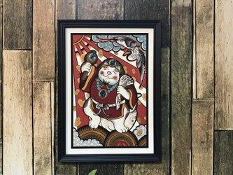 開運 運気アップ イラスト 七福神 大黒猫 A4サイズの画像
