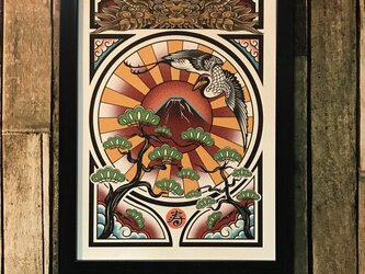開運 イラスト 和風 縁起物 鶴 赤富士 魔除け 獅噛み A4サイズ 黒フレームの画像