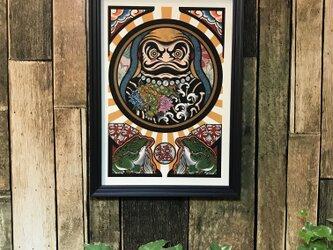 縁起物 刺青 タトゥー イラスト ダルマ 唐獅子 牡丹 A4 黒フレームの画像