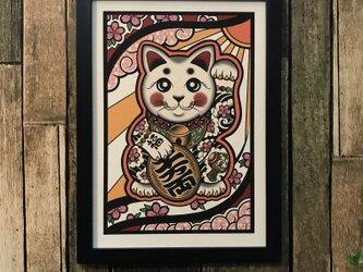 かわいい タトゥー イラスト 刺青 開運 招き猫 桜吹雪 打出の小槌 A4 黒フレームの画像