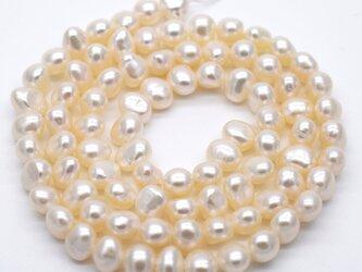 SALE 小粒 バロック淡水パール 連 40cm ボタン 4.5~6.0mm*5~6.5mm パーツ 素材 真珠の画像