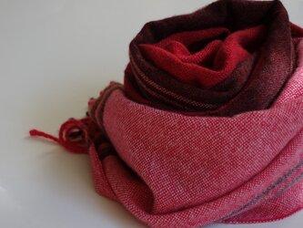 手織りカシミアストール・・真紅のストライプの画像