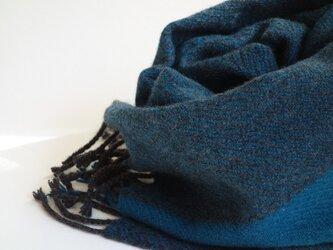 手織りカシミアマフラー・・青緑のワンストライプの画像