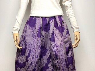 【着物リメイク】タック&ギャザースカート/紫地に孔雀・ハートの画像